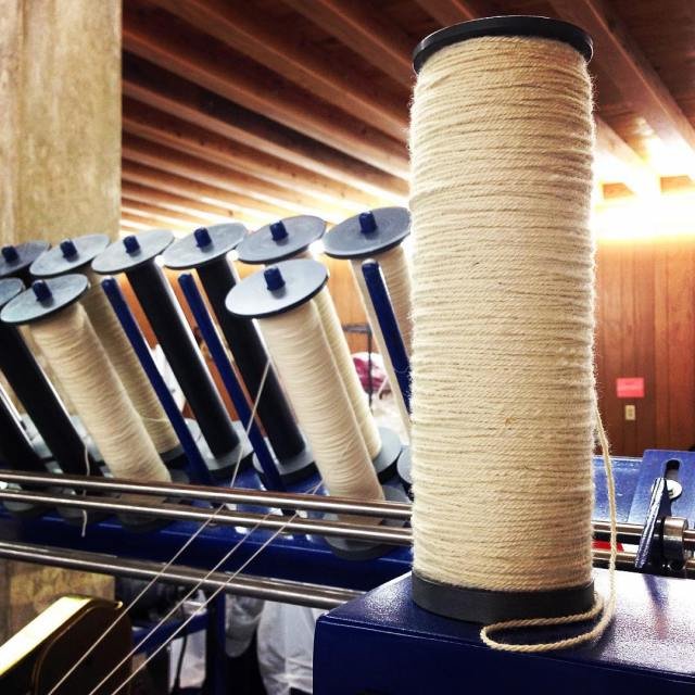 Finished yarn spun at the mill. (This is not my photo. I was so intrigued by the tour that I forgot to take photos. This is from the fiber mill's Facebook page.)